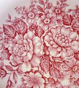 Pink Toile Transferware Rose Vintage Plate S Center www.DecorativeDishes.net