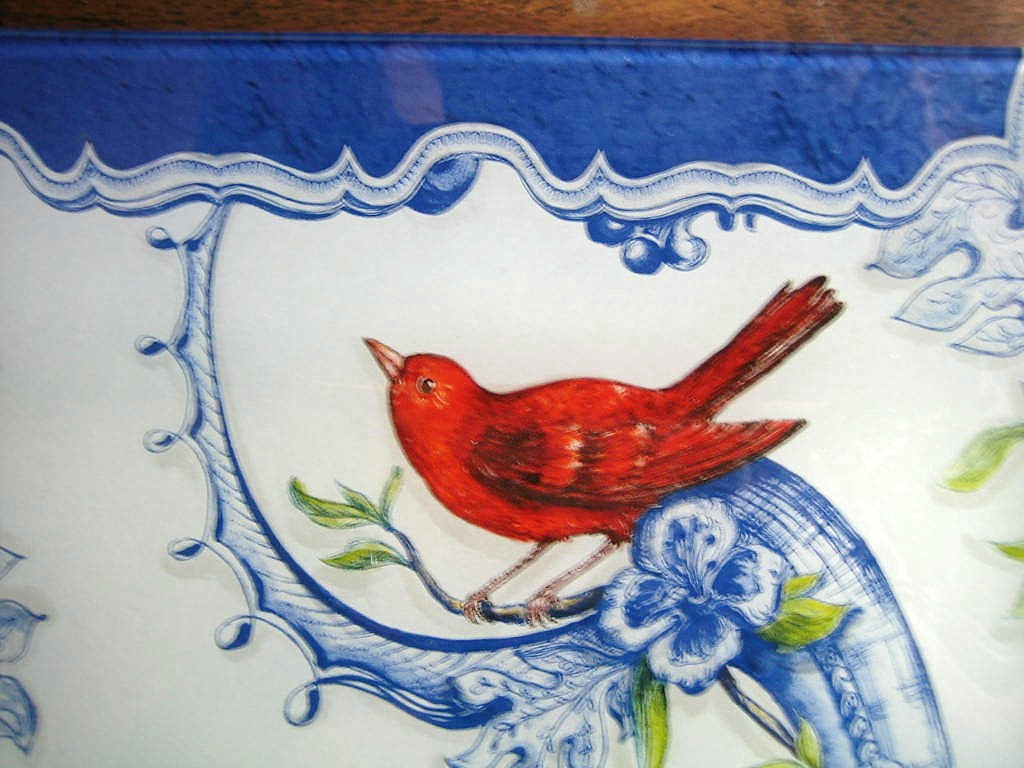 Art Glass Blue Scroll Red Yellow Bird Floral Tray Center www.DecorativeDishes.net