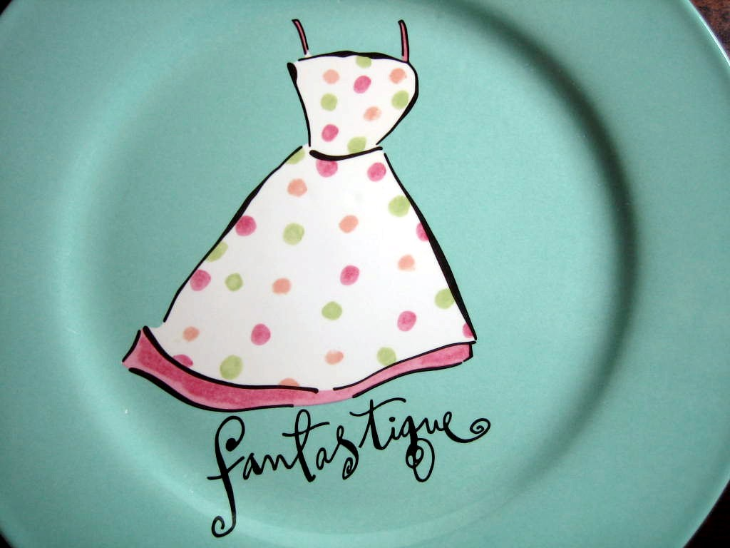 Vintage Dotted Sundress Aqua Fashion Plate Fantastique Rosanna Center www.DecorativeDishes.net