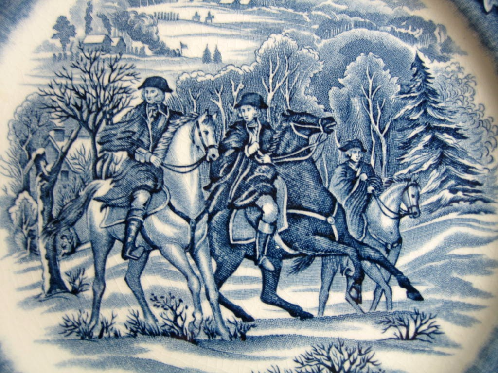 Cobalt Blue Toile Transferware Horses Snow Colonial Plate Center www.DecorativeDishes.net