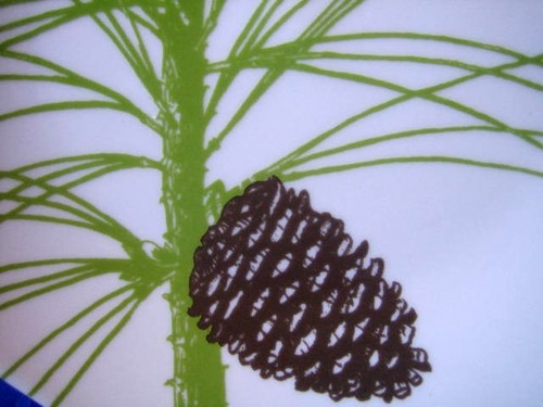 Green Pine Needles Brown Pine Cone Cabin Chic Plate Center www.DecorativeDishes.net