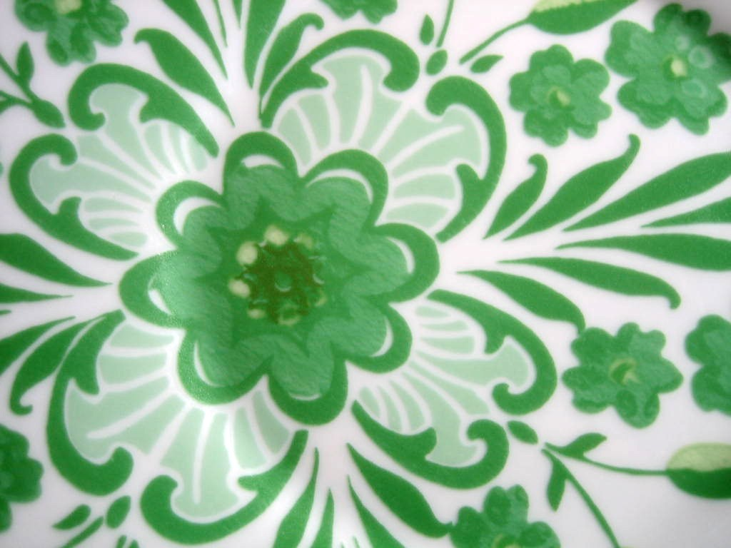 Spring Green on White Boho Chic Floral Great Shaped Rosanna Plate 2 Center www.DecorativeDishes.net