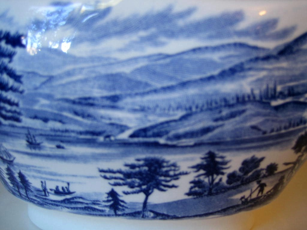 Cobalt Blue Toile Transferware Colonial Harbor Long Pitcher Center www.DecorativeDishes.net