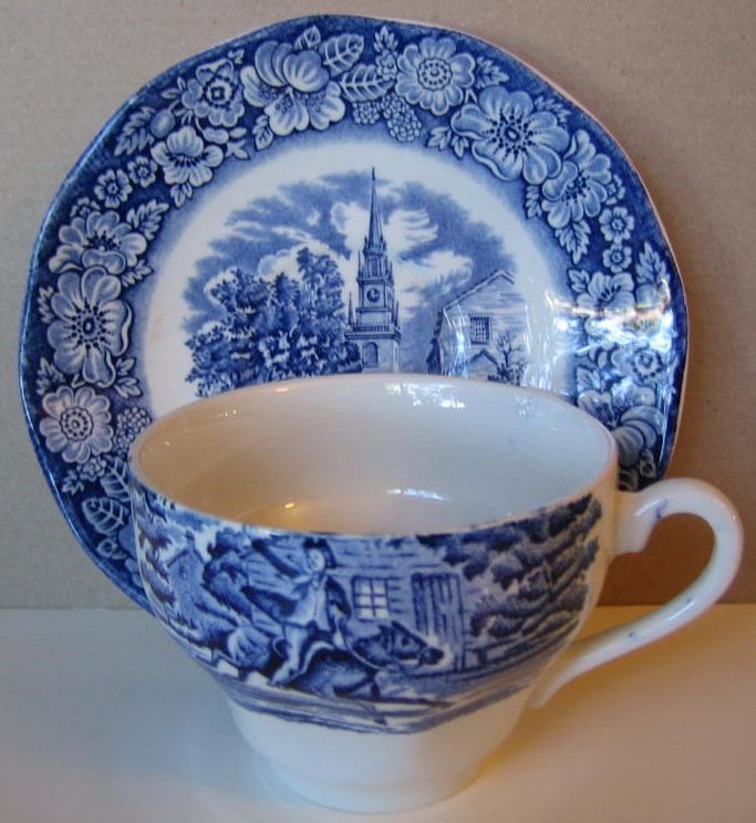 Cobalt Blue Toile Transferware Paul Revere Cup and Saucer Center www.DecorativeDishes.net