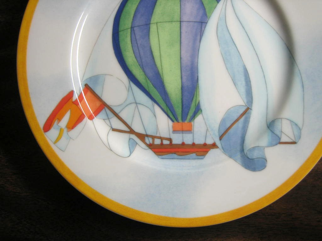 Whimsical Blue Green Hot Air Balloon Sky Gold Edge Plate Japan Edge www.DecorativeDishes.net