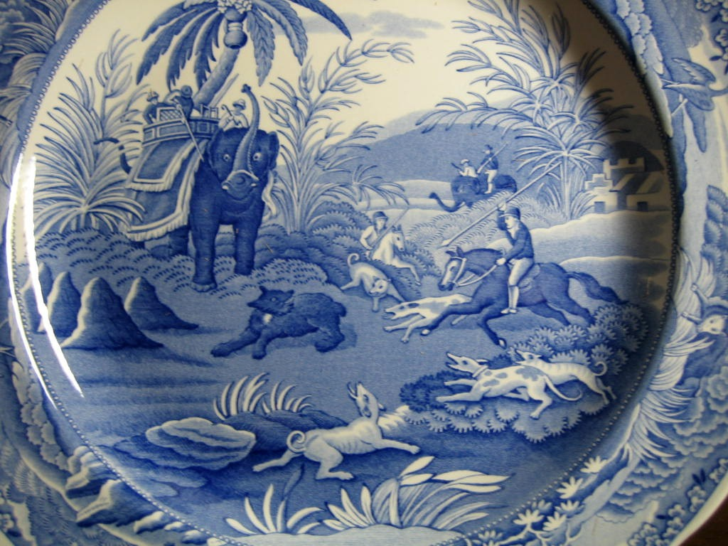 Blue White Transferware Exotic Jungle Elephant Palm Plate Center www.DecorativeDishes.net