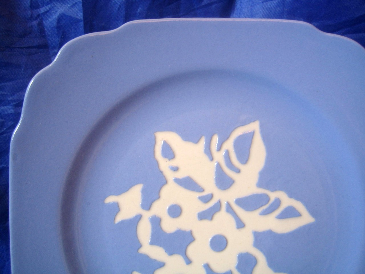 Periwinkle Blue Cream Cameo Stencil Flowers Square Vintage Plate Edge www.DecorativeDishes.net