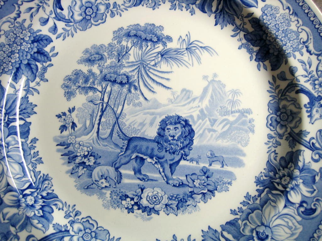 Blue Toile Transferware Lion Fox Palm Exotic Motif Plate Center www.DecorativeDishes.net