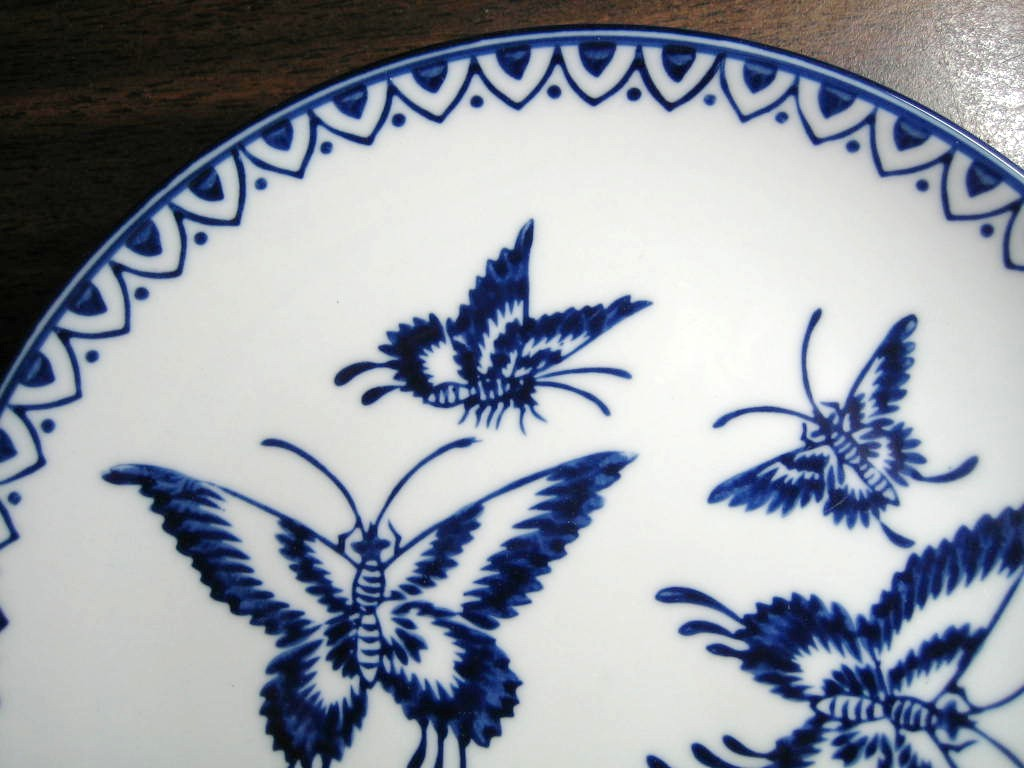 Cobalt Blue Exotic Chinoiserie Butterfly Pointy Edge Plate Edge www.DecorativeDishes.net