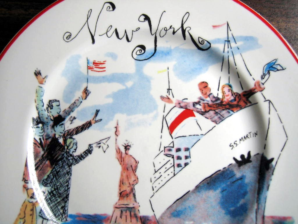 Whimsical New York Statue Liberty Flag Cartoon Bon Voyage Plate Center www.DecorativeDishes.net