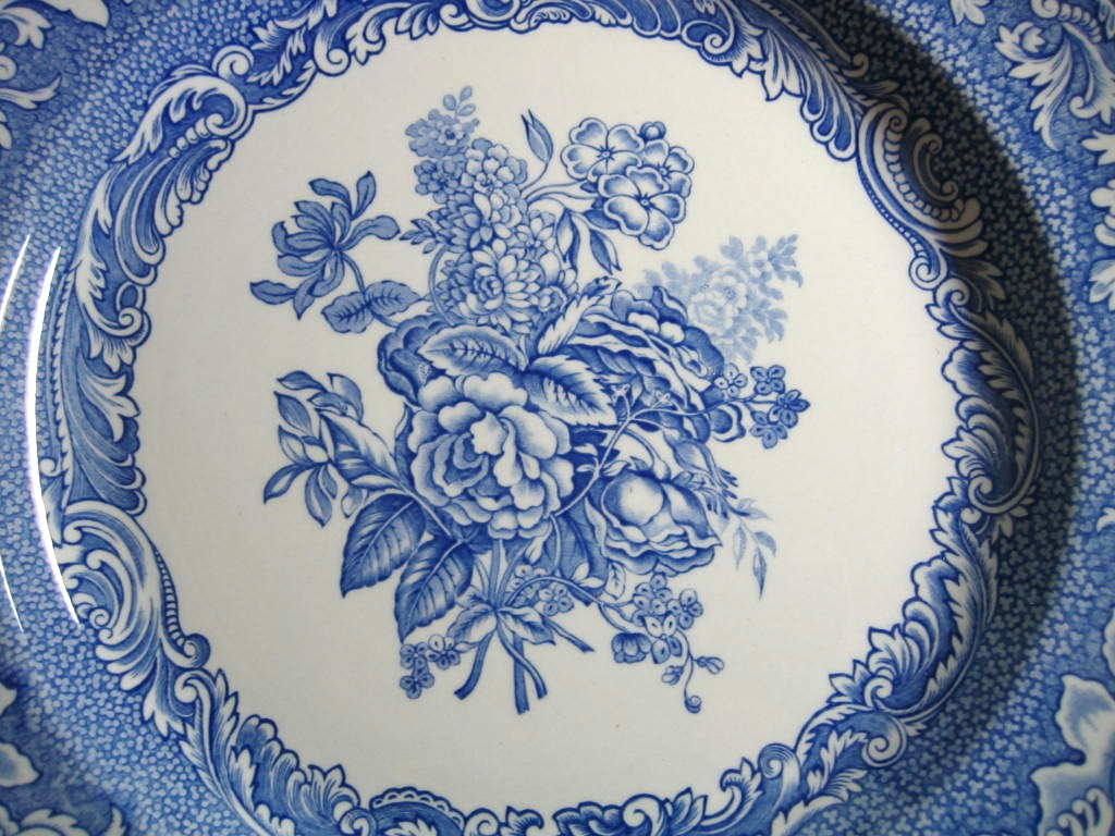 Decorative Plate - Blue Toile Rose Bouquet Scroll Edge  Center www.DecorativeDishes.net