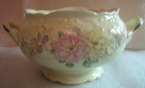 OLD Vintage USA Pastel Roses 3-D Edge Handled Bowl Center www.DecorativeDishes.net