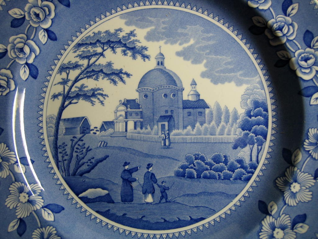 Blue White Transferware Couple Child Domed Church Plate Center www.DecorativeDishes.net