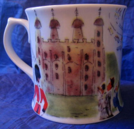 Whimsical London Bridge Big Ben Couple Large Mug Center www.DecorativeDishes.net