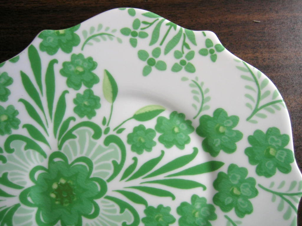 Spring Green on White Boho Chic Floral Great Shaped Rosanna Plate 2