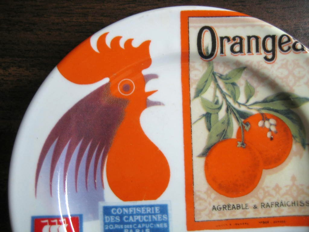 French Rooster Orange Label French Vintage Ad Small Plate