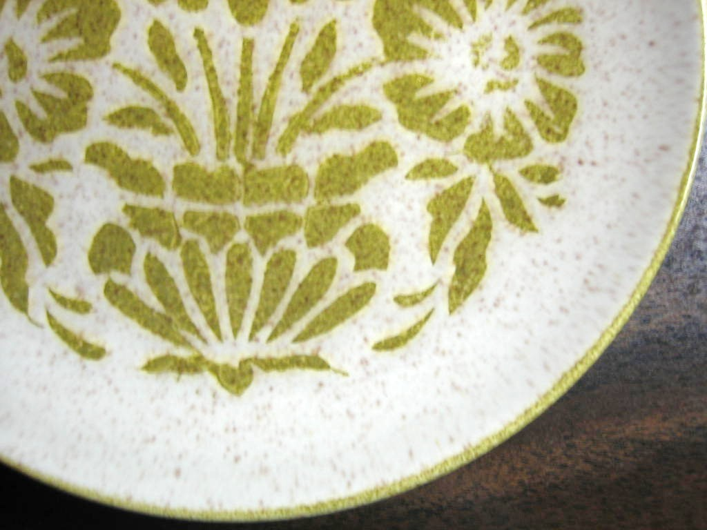 Vintage 1960s Mad Men Green Stencil Sunflower Mottled Glaze Plate Edge www.DecorativeDishes.net