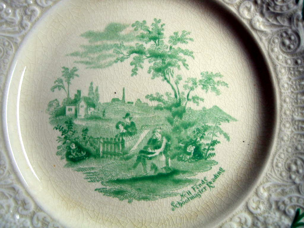 Shabby Green Cream Antique Toile Schoolmaster Textured Edge Plate M Center www.DecorativeDishes.net