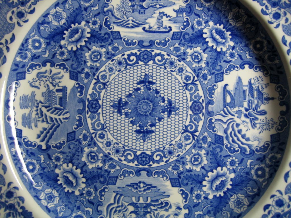 Blue White Transferware Chinoiserie Exotic Asian Medallion Plate Center www.DecorativeDishes.net
