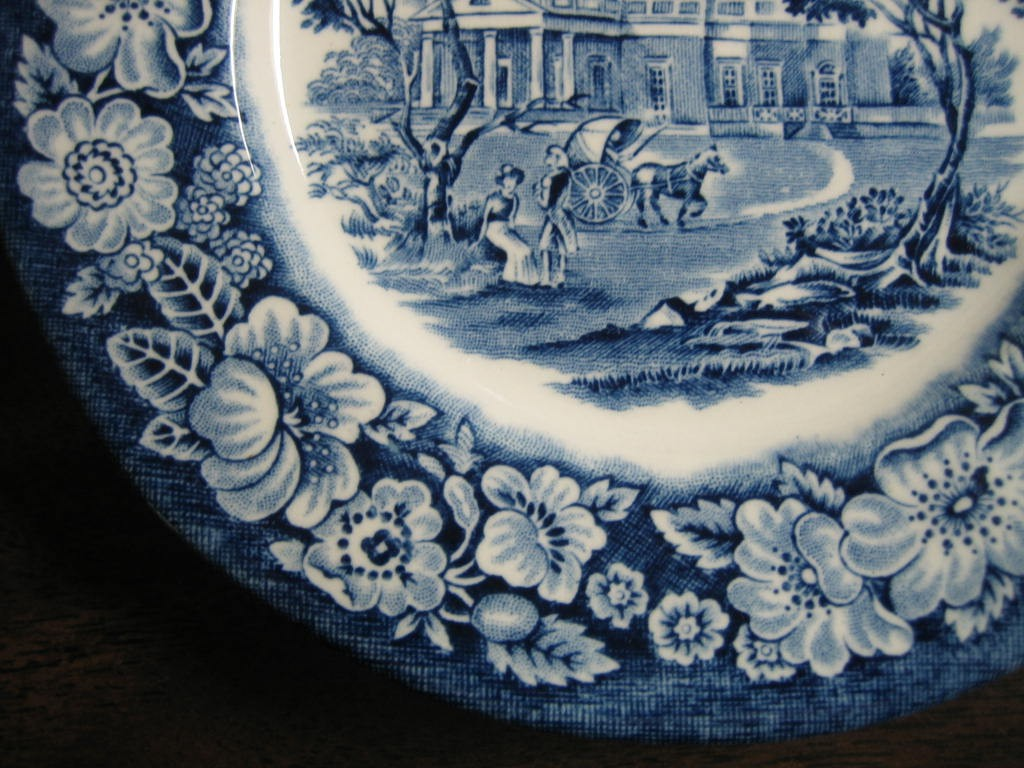 Cobalt Blue Toile Transferware Children Pony Cart Colonial Small Plate Edge www.DecorativeDishes.net