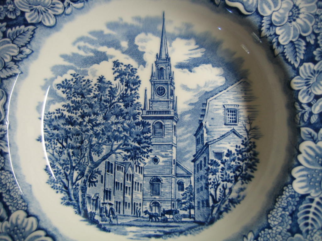 Cobalt Blue Toile Transferware 3-D Colonial Flat Bowl Center www.DecorativeDishes.net