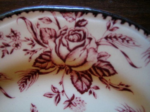 Deep Pink Maroon Rose Chintz Pewter Edge Plate Edge www.DecorativeDishes.net