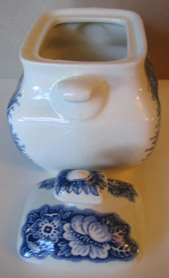 Cobalt Blue Toile Transferware Betsy Ross Small Lidded Bowl  Edge www.DecorativeDishes.net