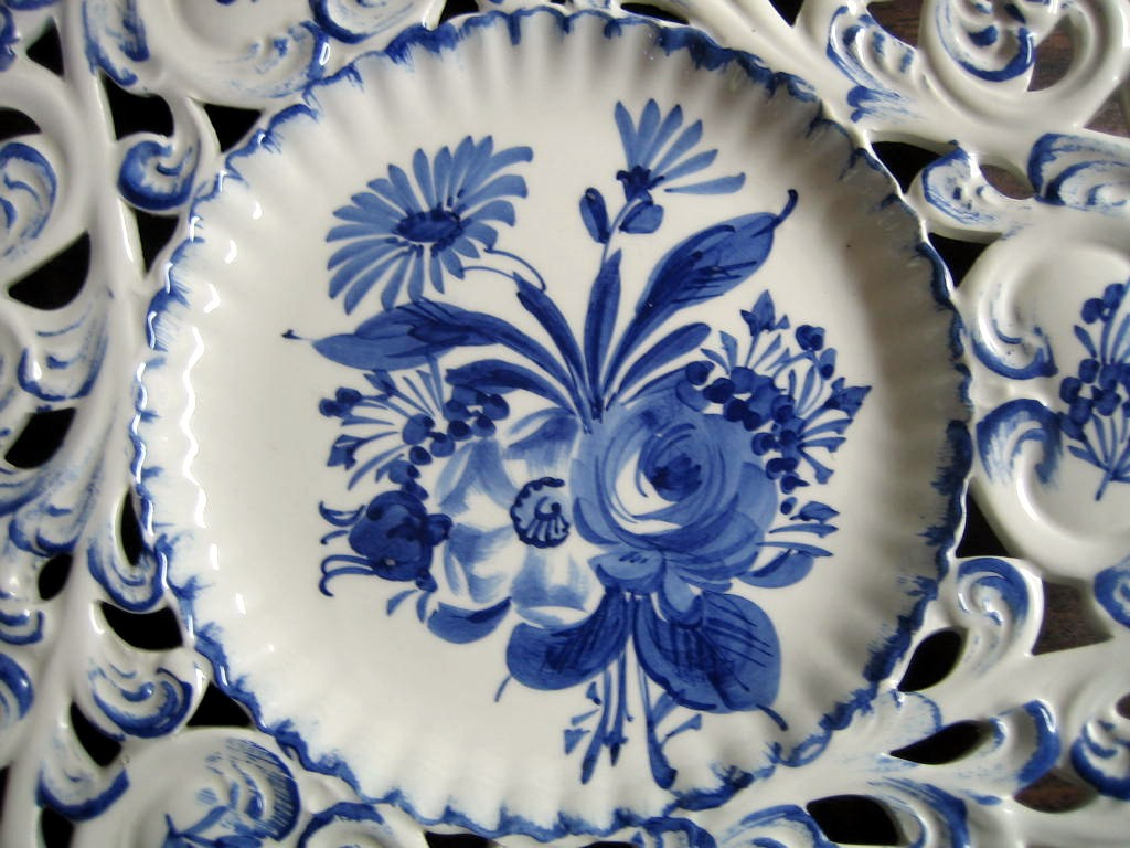 Blue on White Rose Daisy Scroll Hand Painted Pierced Italy Plate Center www.DecorativeDishes.net