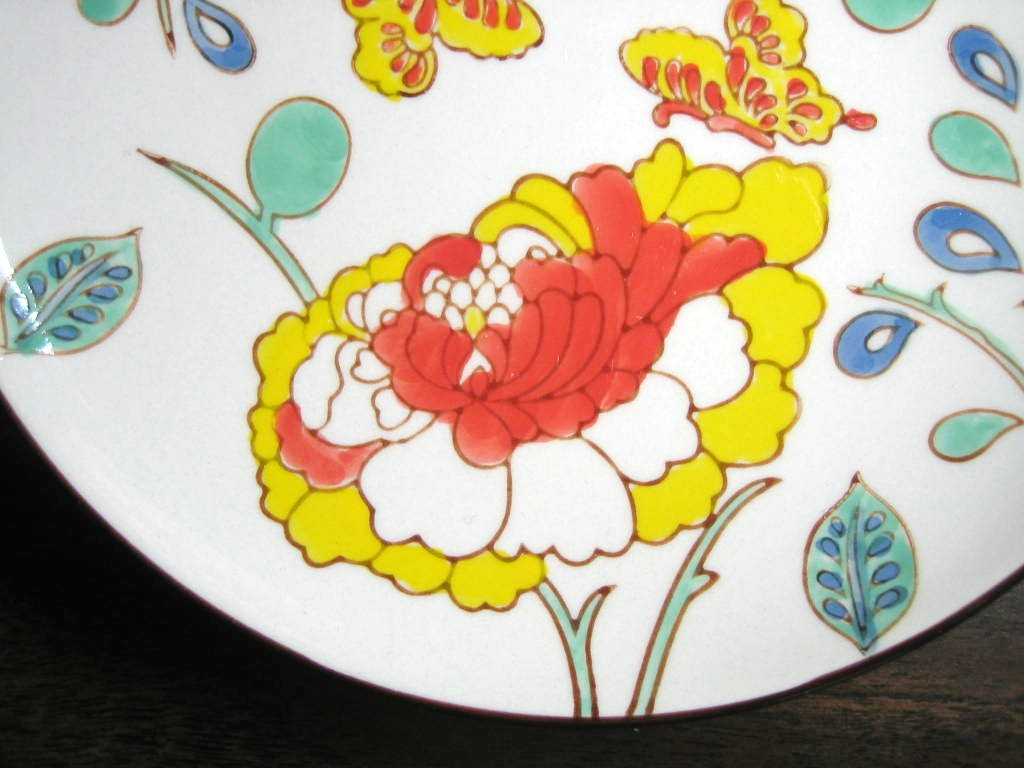 Mayabi Chinoiserie Lotus Butterfly Medium Plate Edge www.DecorativeDishes.net