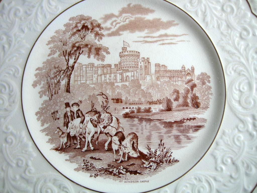 OLD Brown Toile Transferware Horses Dogs Castle Raised Scroll Gold Edge Plate Charger Center www.DecorativeDishes.net
