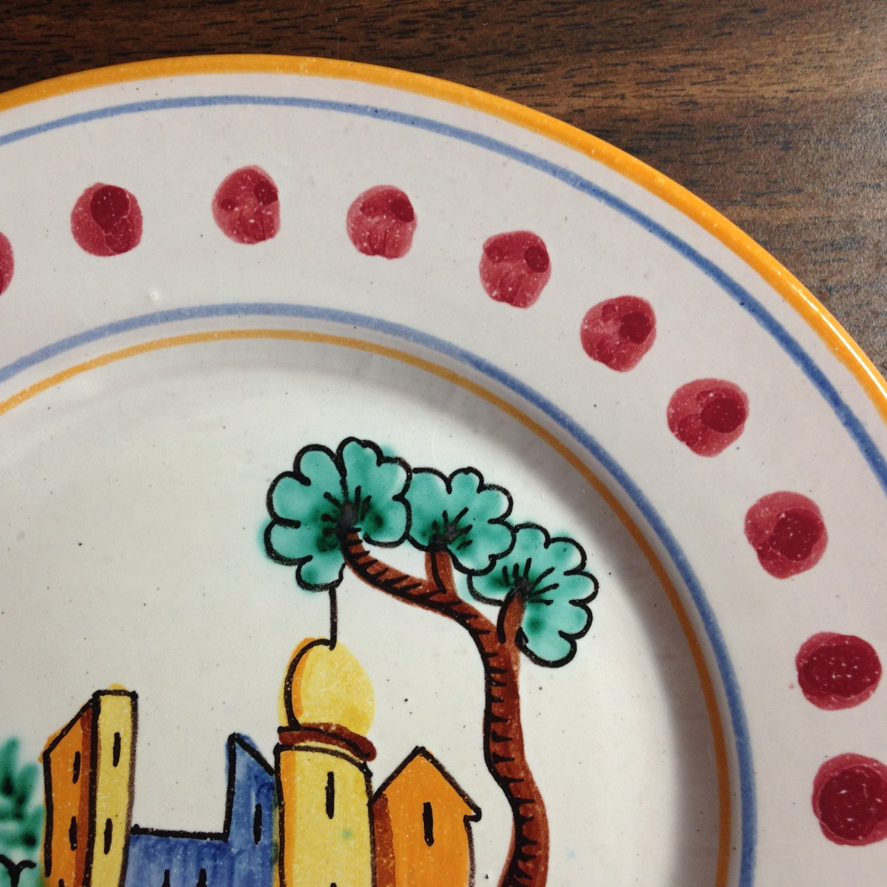 Hand Painted in Italy Italian Village Plate with Dots Center www.DecorativeDishes.net