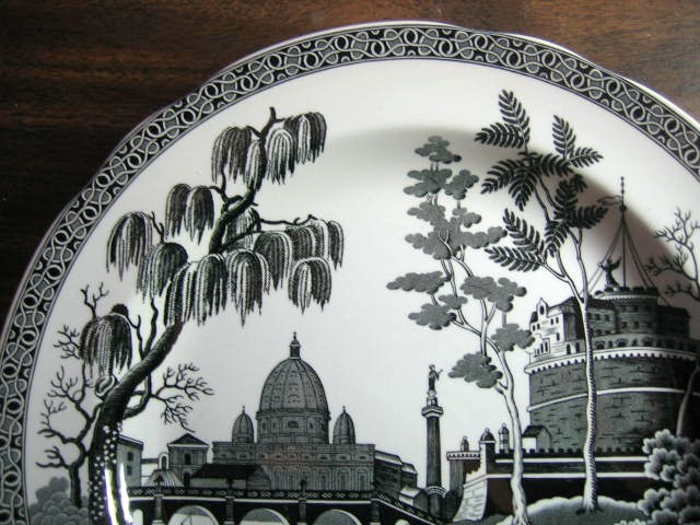 Black White Toile Exotic Palm River Temple Plate Center www.DecorativeDishes.net