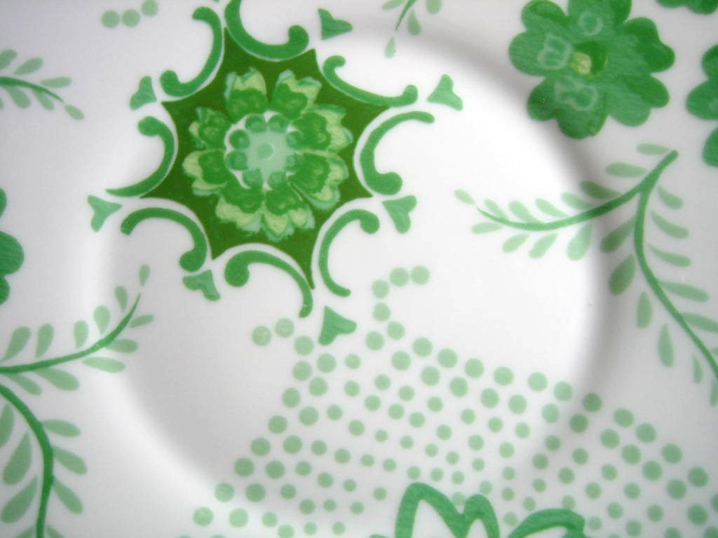 Spring Green on White Boho Chic Floral Great Shaped Rosanna Plate 1 Center www.DecorativeDishes.net