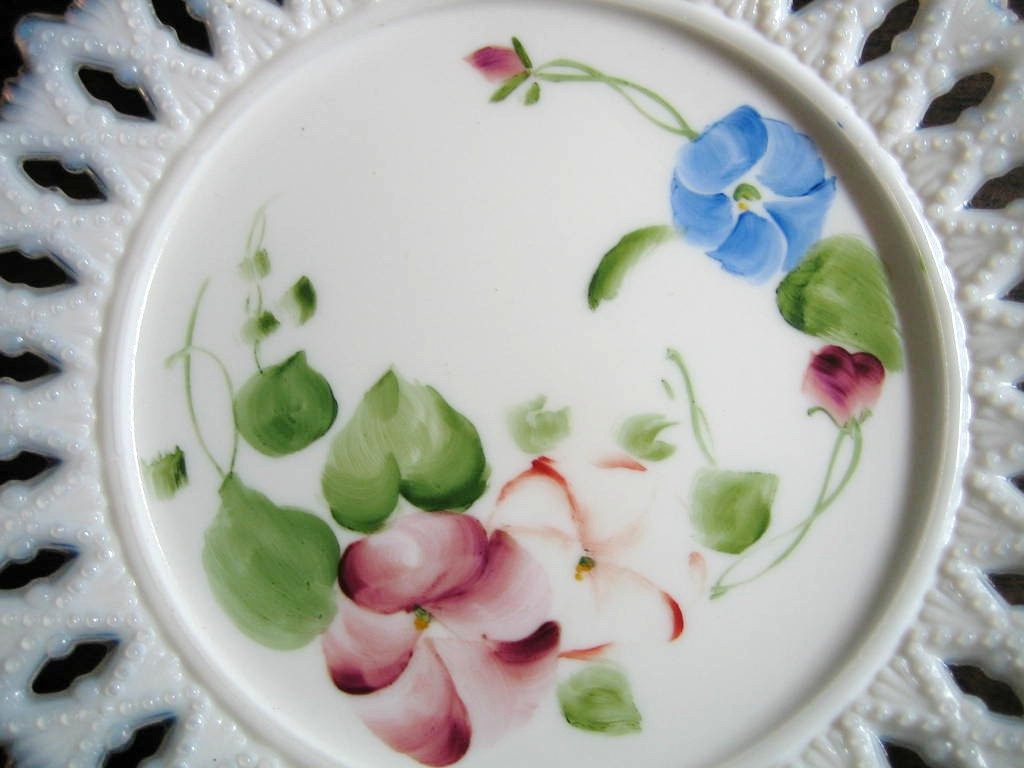 Antique Sweet Milk Glass Hand Painted Pansy Lace Edge Pierced Plate Center www.DecorativeDishes.net