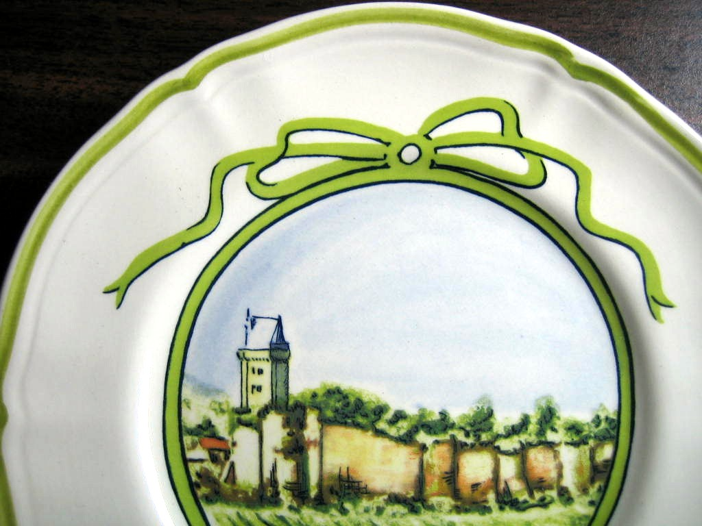 Sweet Chinon Winery French Green Bow Mini Small Plate Edge www.DecorativeDishes.net