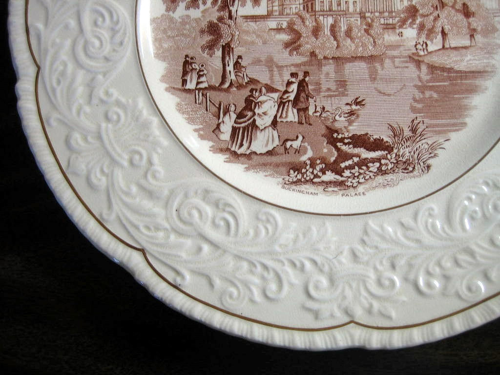 OLD Brown Toile Transferware Couples Dog Swans Raised Scroll Gold Edge Plate Charger Edge www.DecorativeDishes.net