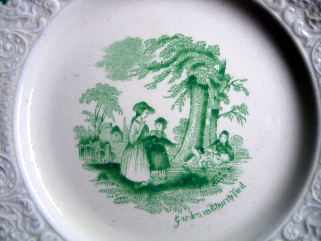 Shabby Green Cream Antique Toile Children Textured Edge Plate S Center www.DecorativeDishes.net