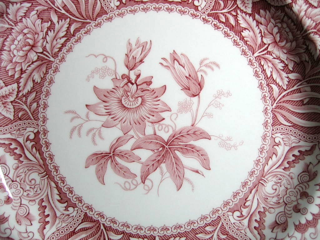 Red Pink Toile Transferware Exotic Floral Plate Center www.DecorativeDishes.net