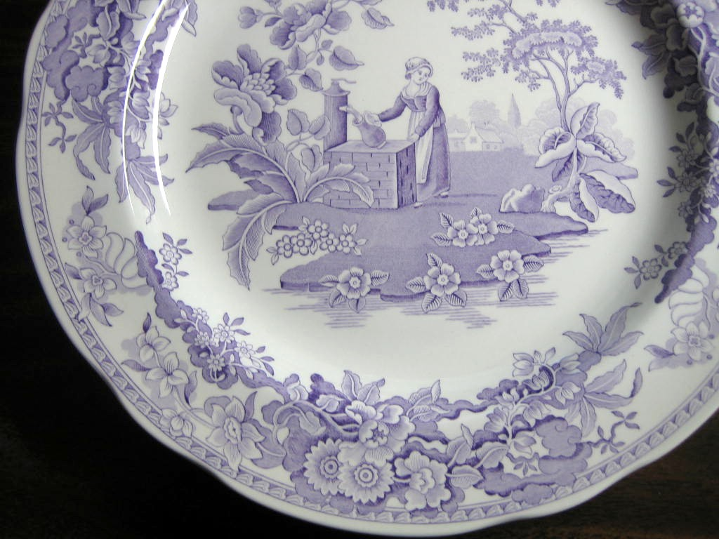 Lavender Purple Toile Transferware Girl Calico Daisy Plate Center www.DecorativeDishes.net