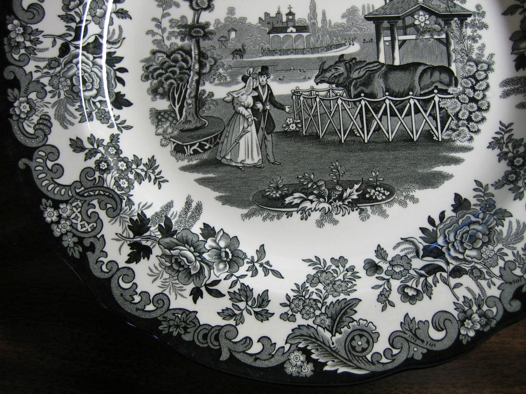 Black White Transferware Toile Victorian Zoo Rhino Plate Edge www.DecorativeDishes.net