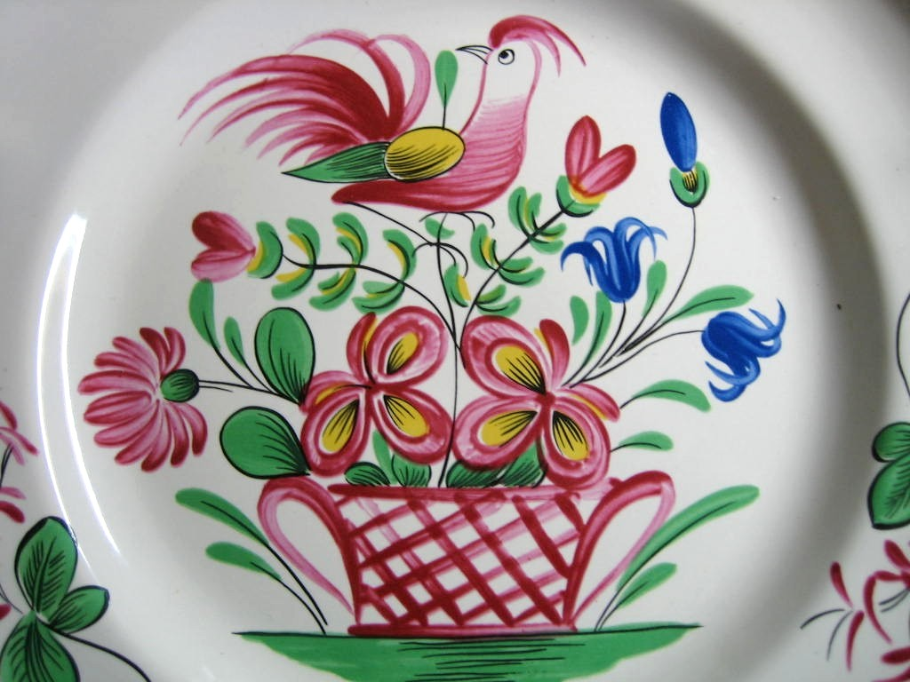 French Folk Art Pink Bird Basket Scalloped Edge Plate 
