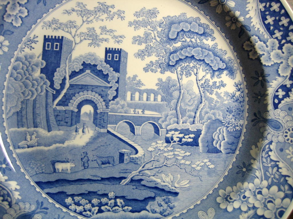 Blue Transferware Chinoiserie Exotic Tower Cows Paisley Edge Plate Center www.DecorativeDishes.net