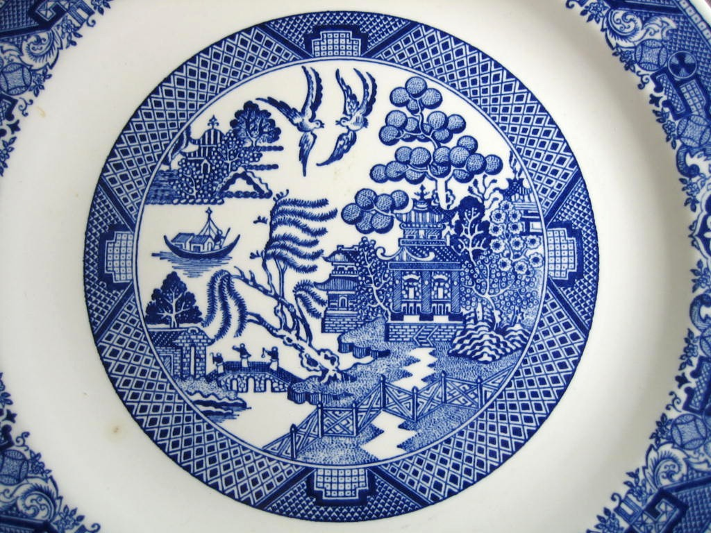 Decorative Charger Plate - Blue White Chinoiserie Exotic Birds USA Vintage Center www.DecorativeDishes.net