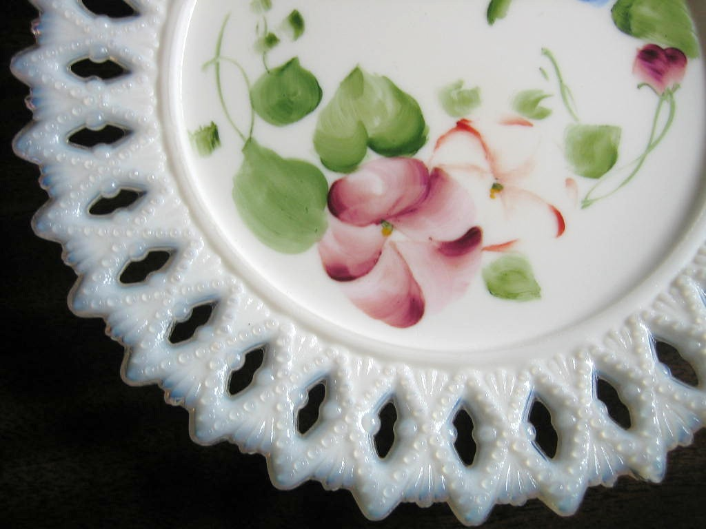 Antique Sweet Milk Glass Hand Painted Pansy Lace Edge Pierced Plate