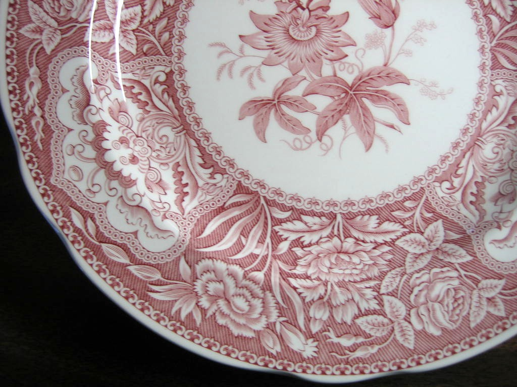 Red Pink Toile Transferware Exotic Floral Plate Edge www.DecorativeDishes.net