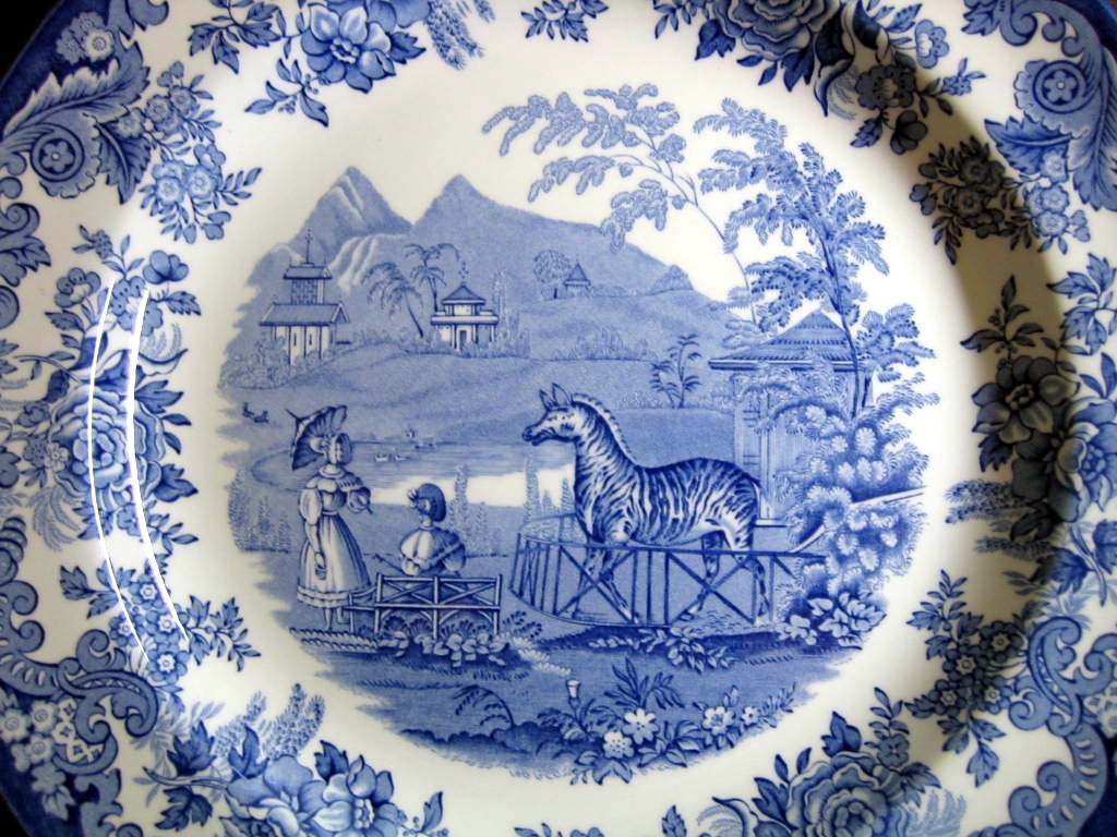 Blue White Transferware Toile Victorian Women Parasol Zoo Zebra Plate Center www.DecorativeDishes.net