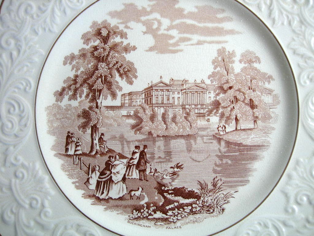 OLD Brown Toile Transferware Couples Dog Swans Raised Scroll Gold Edge Plate Charger Center www.DecorativeDishes.net