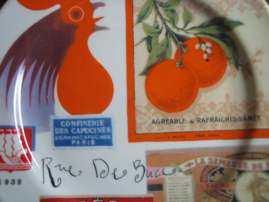French Rooster Orange Label French Vintage Ad Small Plate Center www.DecorativeDishes.net