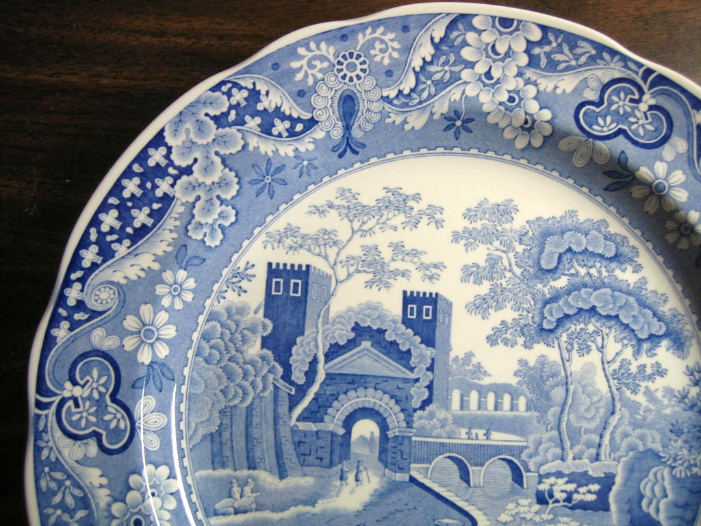 Blue Transferware Chinoiserie Exotic Tower Cows Paisley Edge Plate Edge www.DecorativeDishes.net