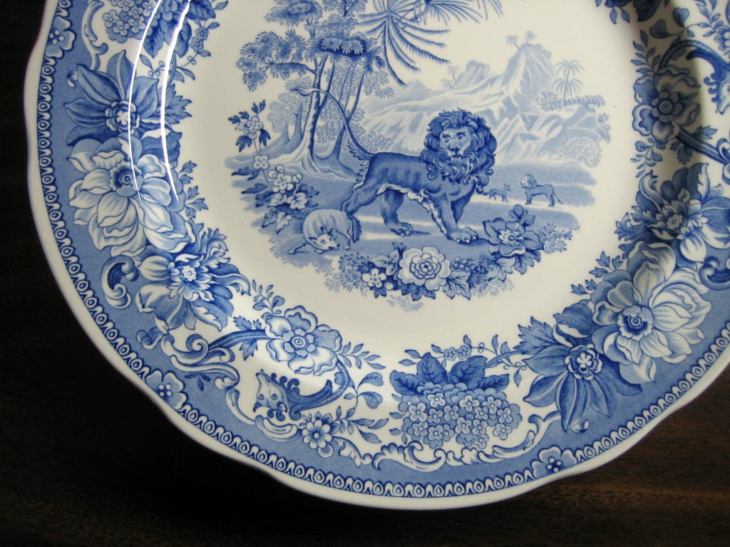 Blue Toile Transferware Lion Fox Palm Exotic Motif Plate Edge www.DecorativeDishes.net
